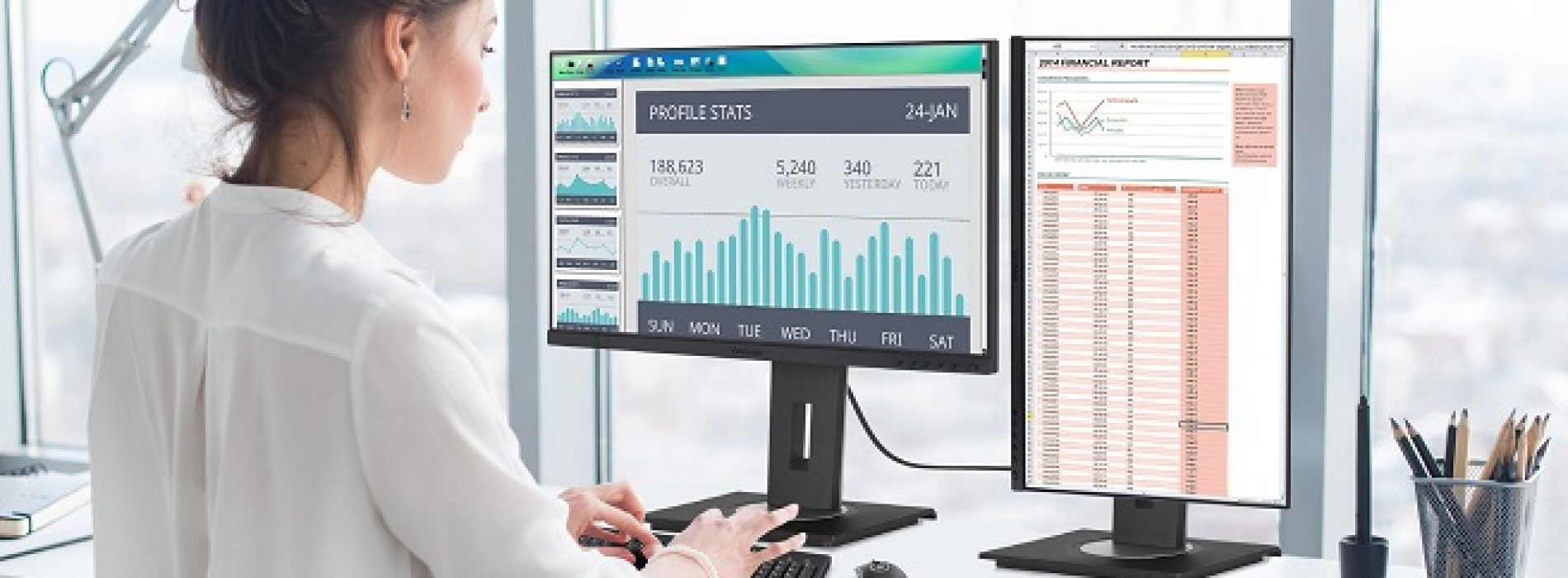 Monitores ergonómicos para teletrabajo