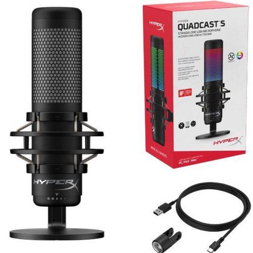QuadCast S micrófono con efectos de iluminación dinámica y ajustes personalizables